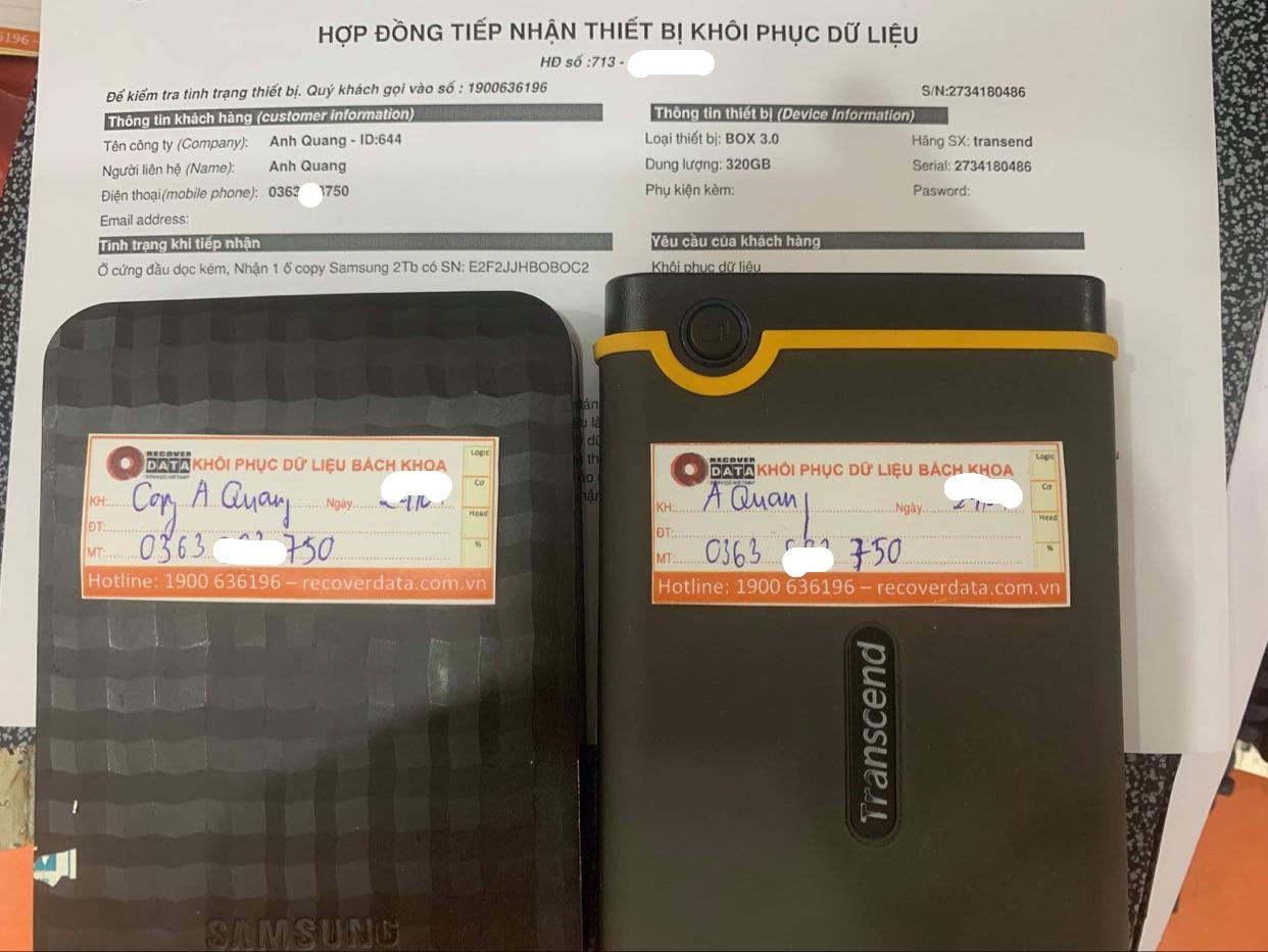 Cứu dữ liệu ổ cứng Box Transend 320GB đầu đọc kém - 07/05/2021