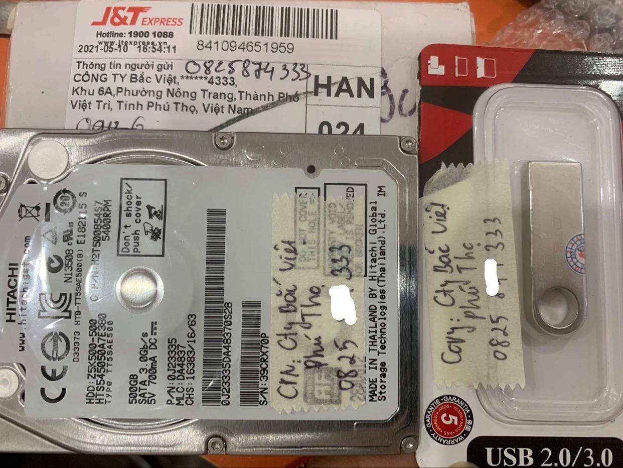 Khôi phục dữ liệu ổ cứng Hitachi 500GB bad tại Phú Thọ - 15/05/2021