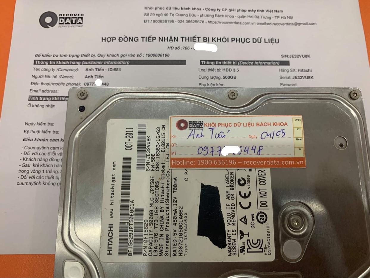 Phục hồi dữ liệu ổ cứng Hitachi 500GB không nhận - 10/05/2021