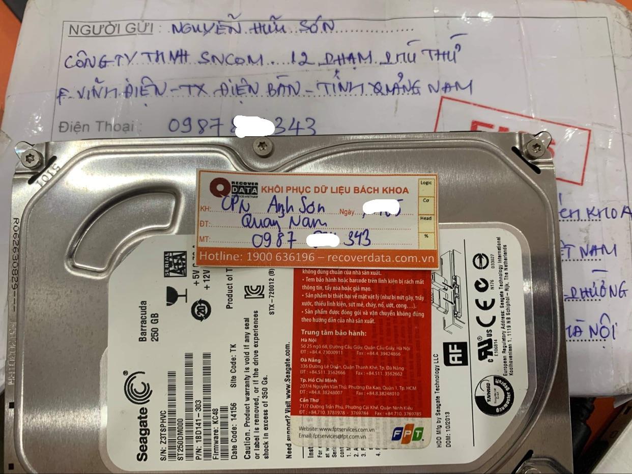 Cứu dữ liệu ổ cứng Seagate 250GB bad tại Quảng Nam - 29/05/2021