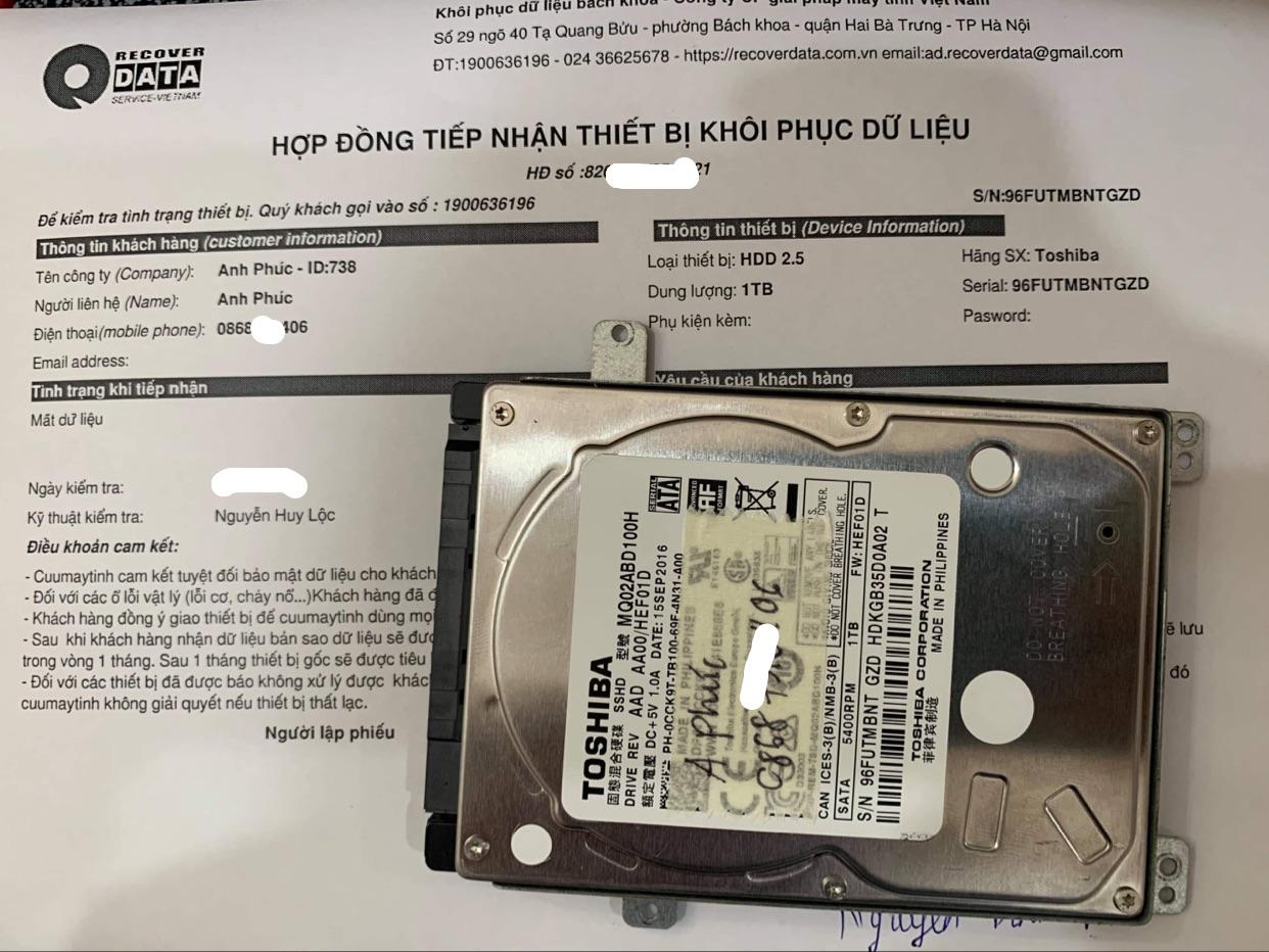Cứu dữ liệu ổ cứng Toshiba 1TB format nhầm - 18/05/2021