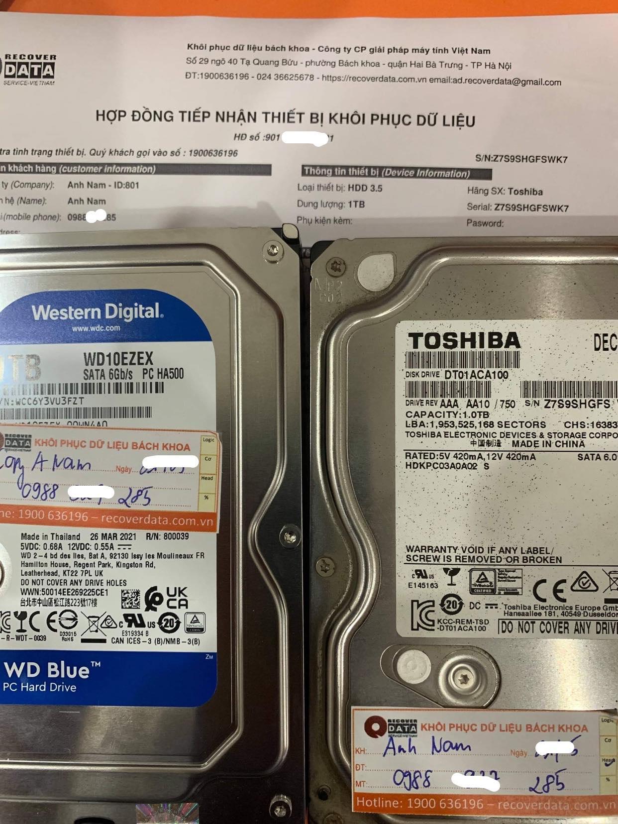 Khôi phục dữ liệu ổ cứng Toshiba 1TB lỗi đầu đọc - 01/06/2021