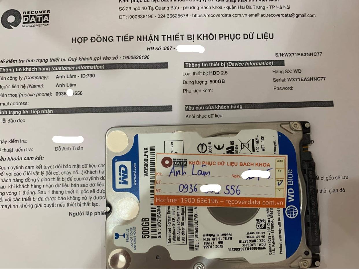 Khôi phục dữ liệu ổ cứng WD 500GB lỗi đầu đọc - 31/05/2021