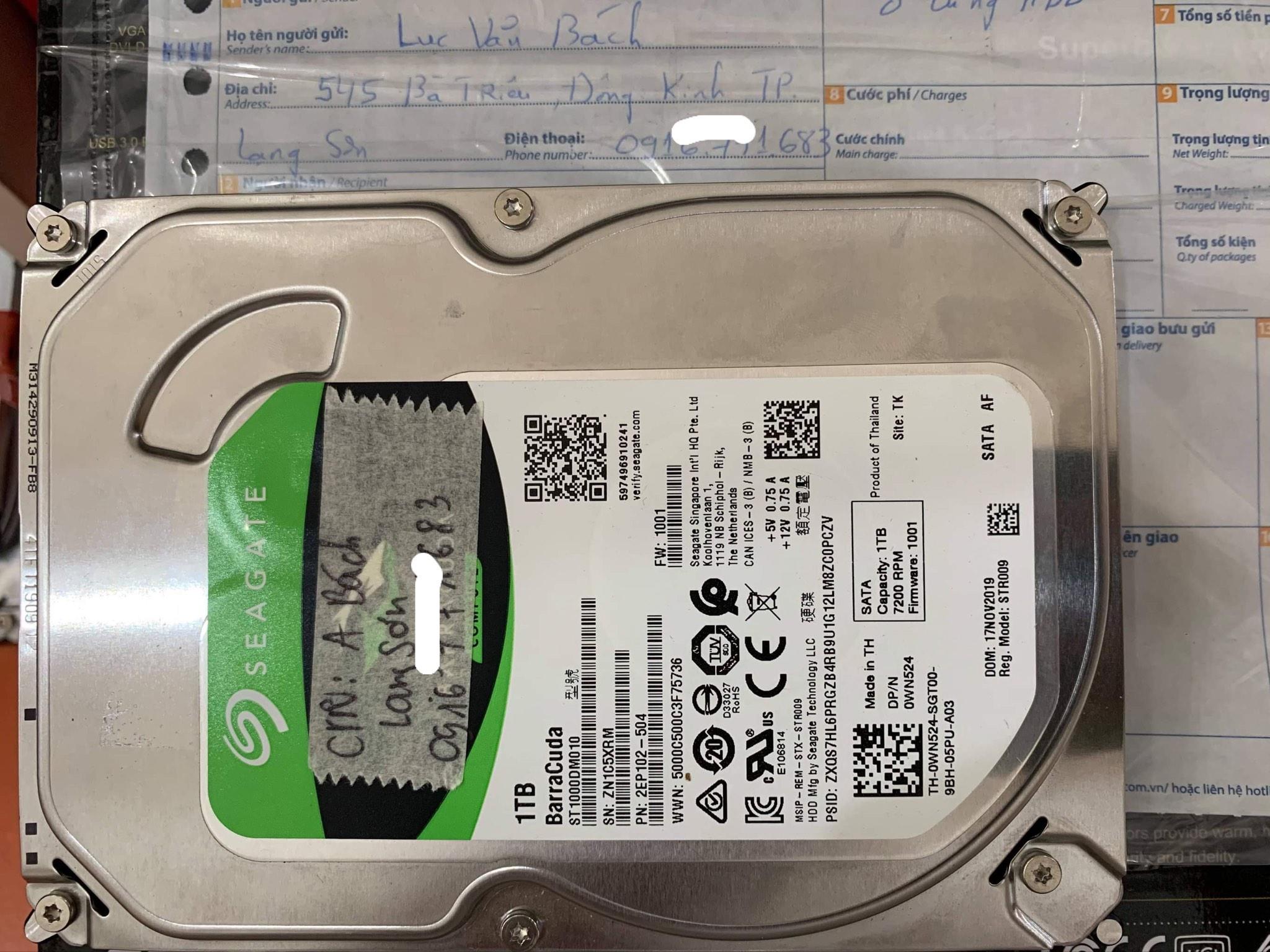 Lấy dữ liệu ổ cứng Seagate 1TB bad tại Lạng Sơn - 17/05/2021