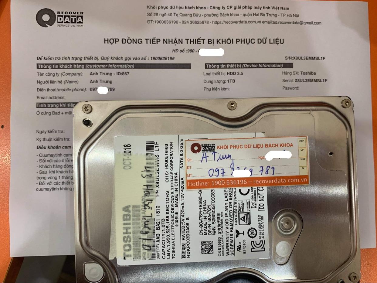 Lấy dữ liệu ổ cứng Toshiba 1TB bad - 04/06/2021
