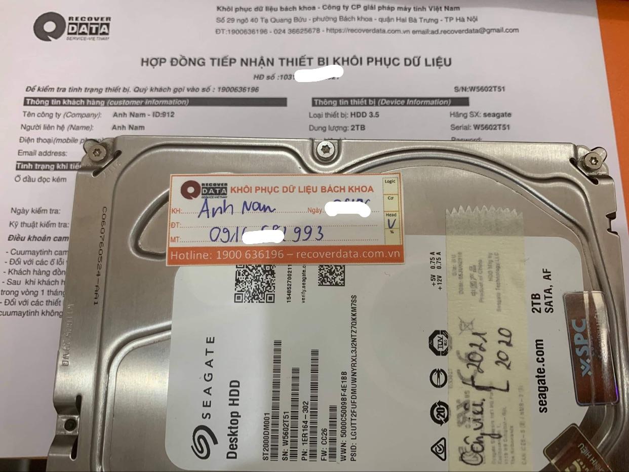 Cứu dữ liệu ổ cứng Seagate 2TB đầu đọc kém - 17/06/2021