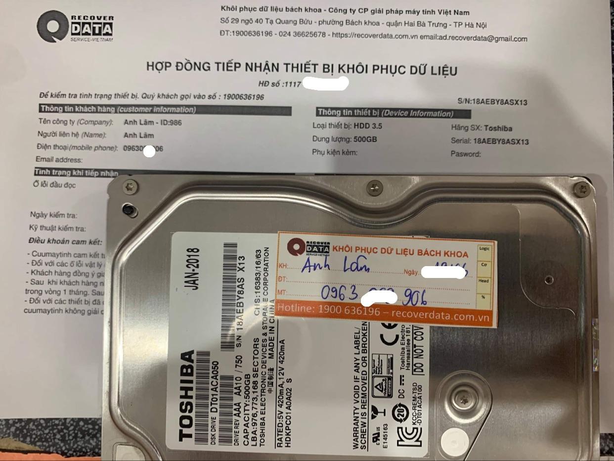 Cứu dữ liệu ổ cứng Toshiba 500GB lỗi đầu đọc - 29/06/2021