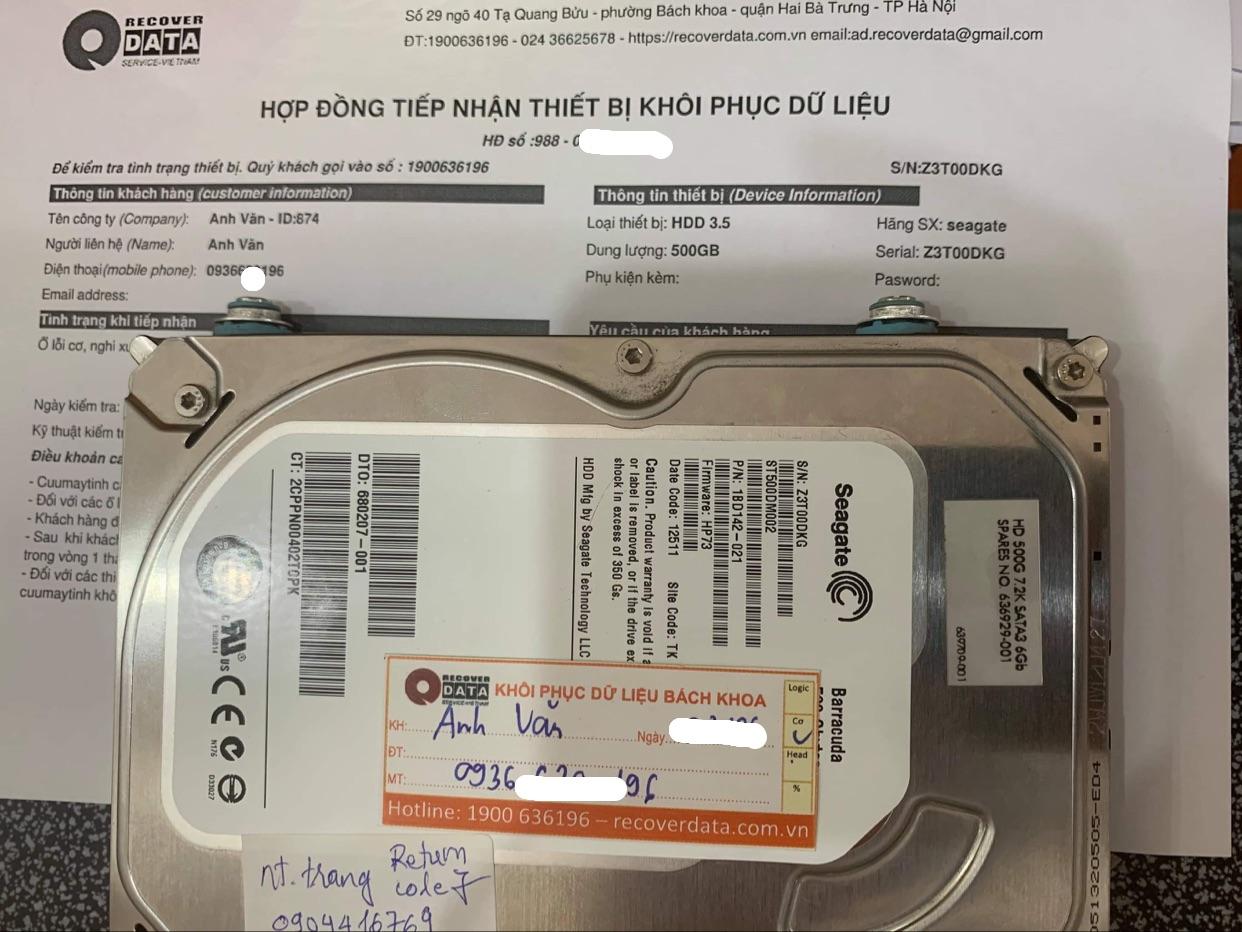 Khôi phục dữ liệu ổ cứng Seagate 500GB lỗi đầu đọc - 09/06/2021