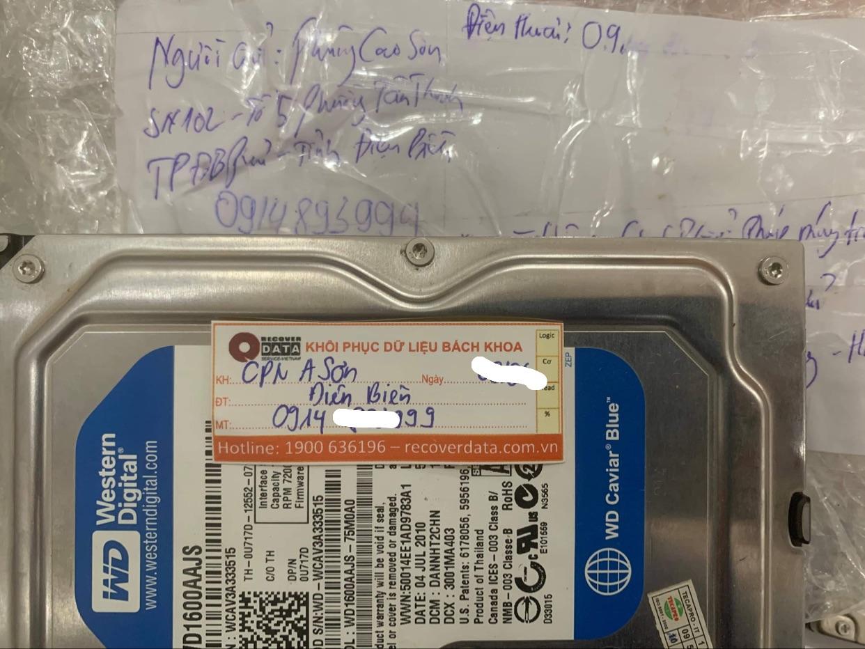 Khôi phục dữ liệu ổ cứng WD 160GB format nham tai Dien Bien - 18/06/2021