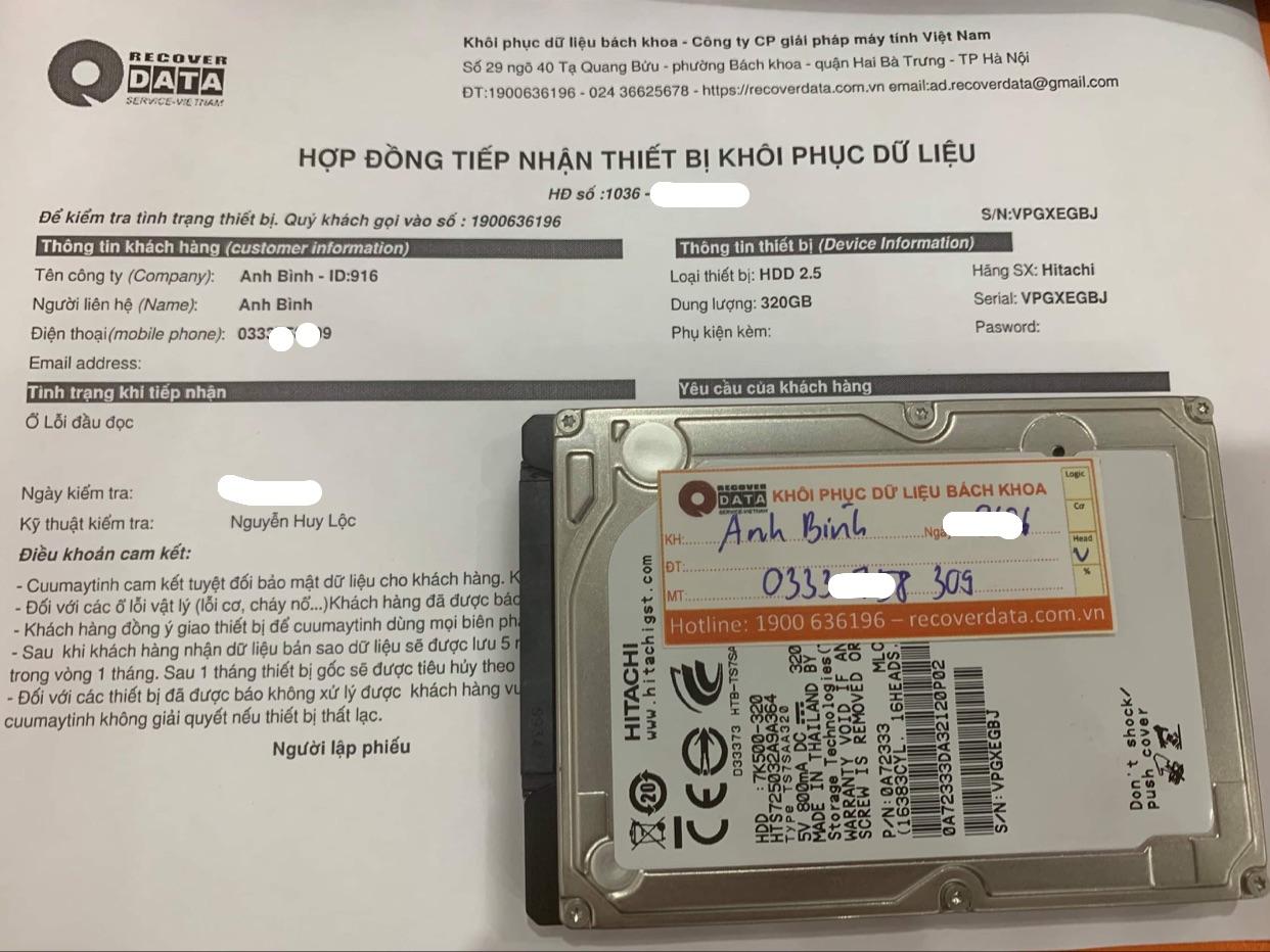 Lấy dữ liệu ổ cứng Hitachi 320GB lỗi đầu đọc - 16/06/2021