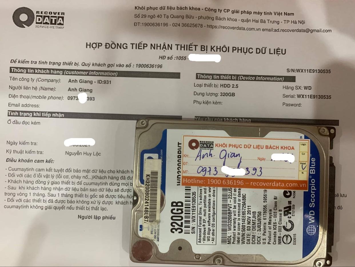 Lấy dữ liệu ổ cứng WD 320GB đầu đọc kém - 21/06/2021