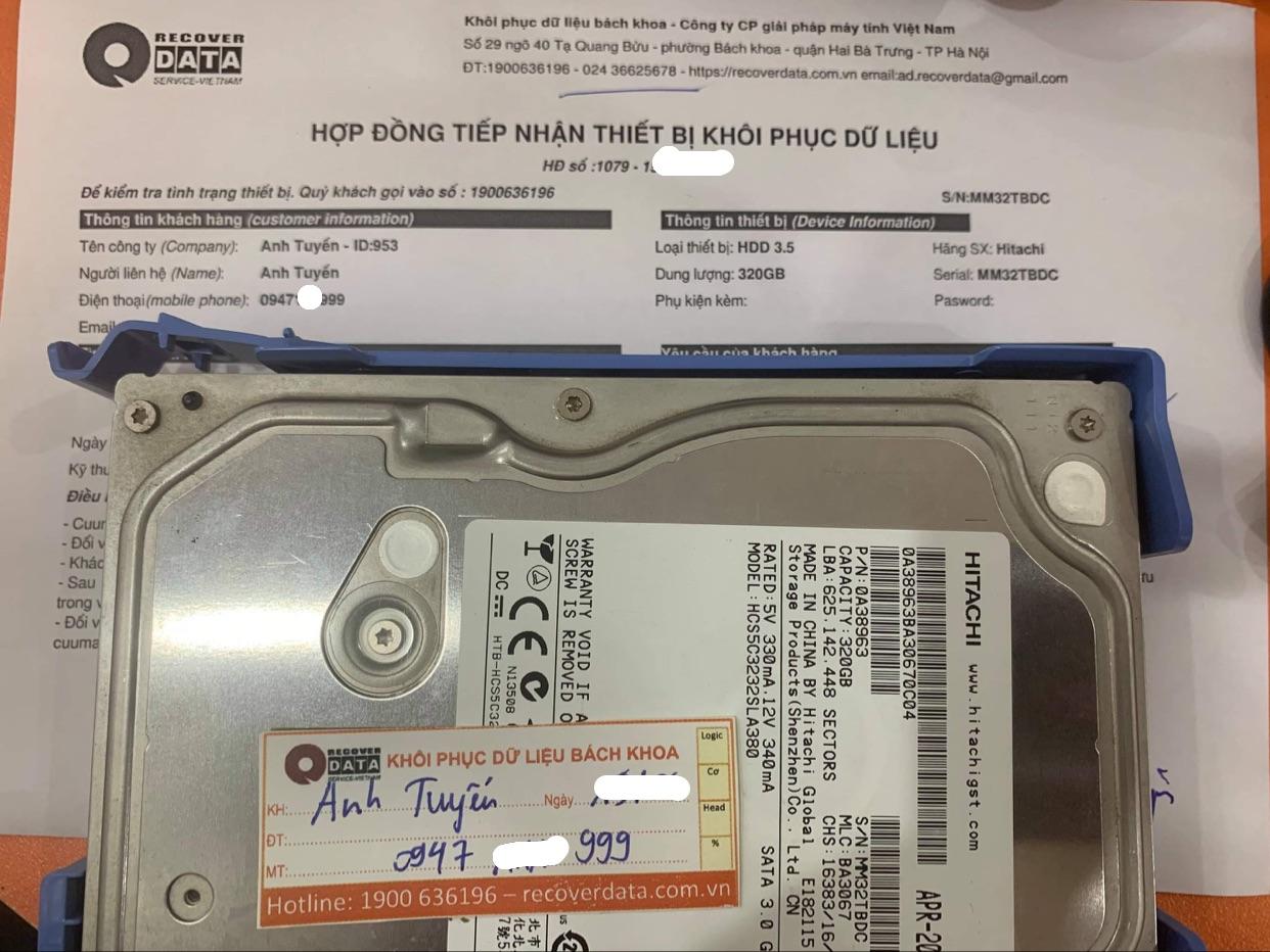 Phục hồi dữ liệu ổ cứng Hitachi 320GB bad - 25/06/2021