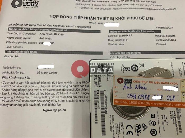 Lay du lieu o cung Seagate 1TB dau doc kem - 23/09/2021