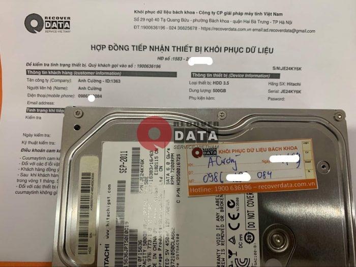 Cuu du lieu o cung Hitachi 500GB loi co - 28/09/2021