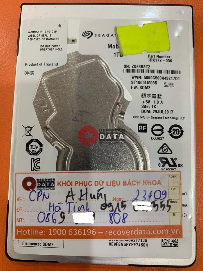 Cuu du lieu o cung Seagate 1TB loi dau doc tai Ha Tinh - 28/09/2021