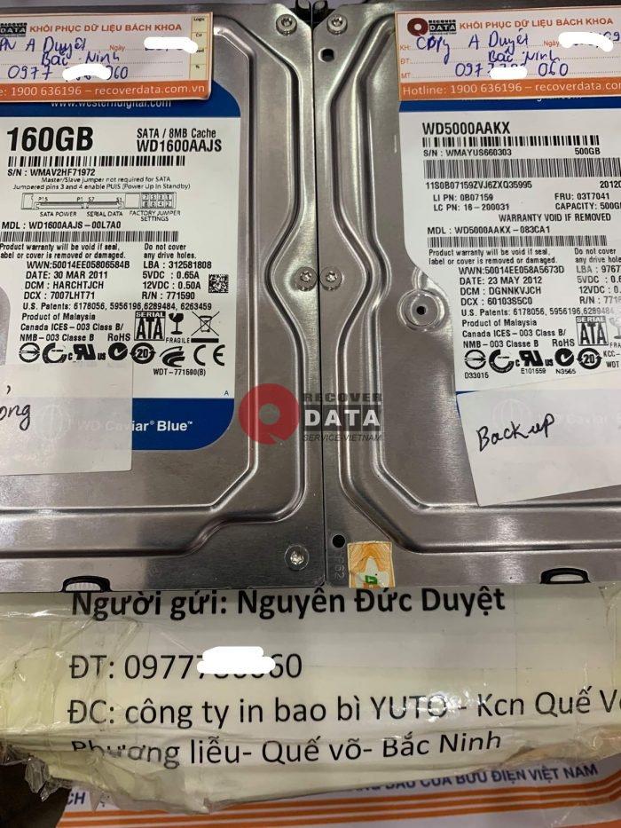Lay du lieu o cung WD 160GB loi co tai Bac Ninh - 27/09/2021